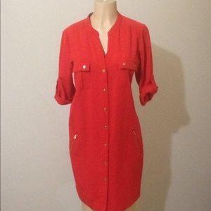 Sharagano coral shirt dress with gold trim Sz 12